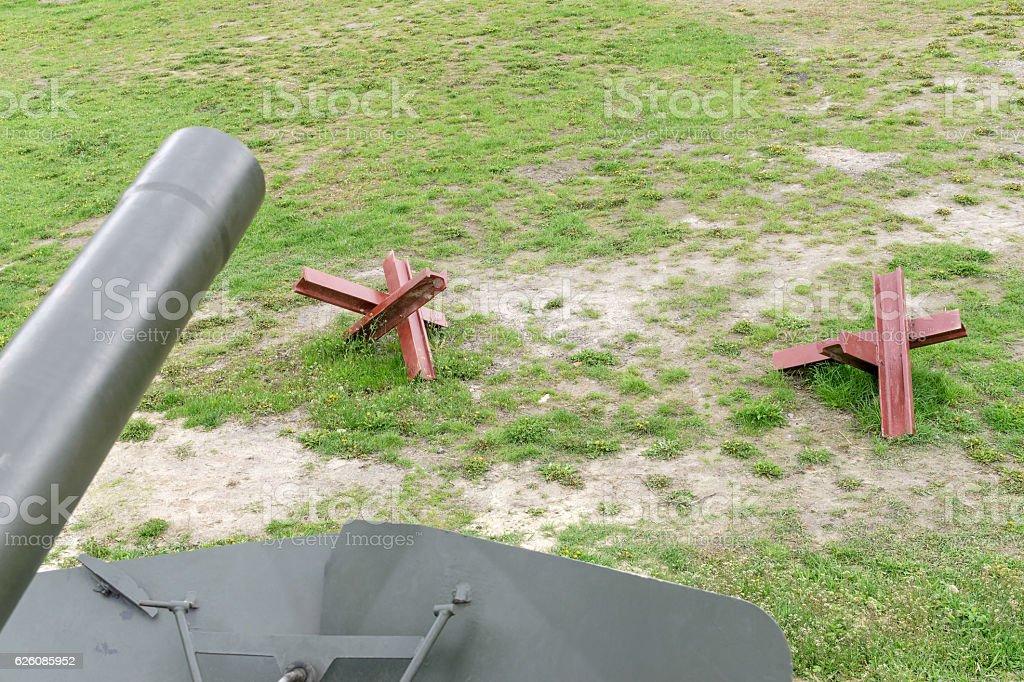 Antitank obstacle on battlefield stock photo