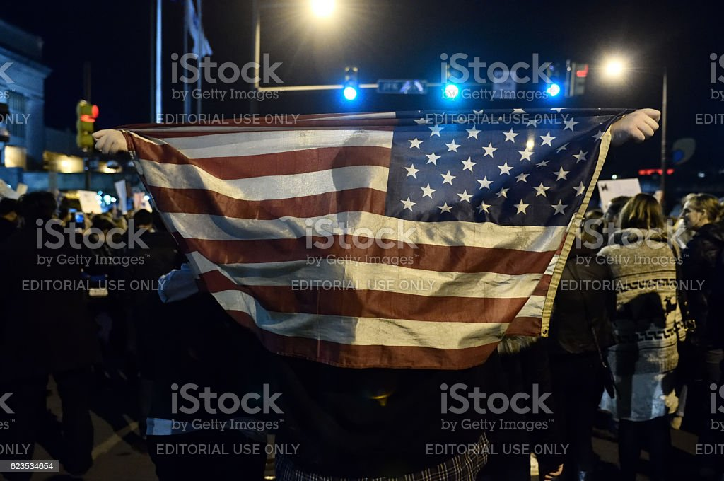 Anti-Trump Protest following U.S. Elections in Philadelphia, PA stock photo