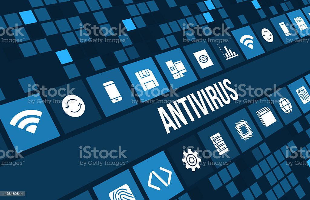 Antivirus concept image with technology icons and copyspace stock photo