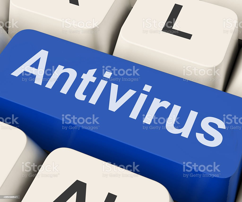 Antivirus Key Means Protection stock photo