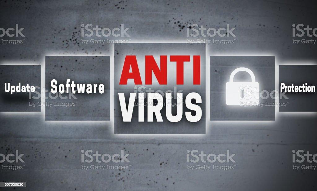 Antivirus touchscreen concept background stock photo