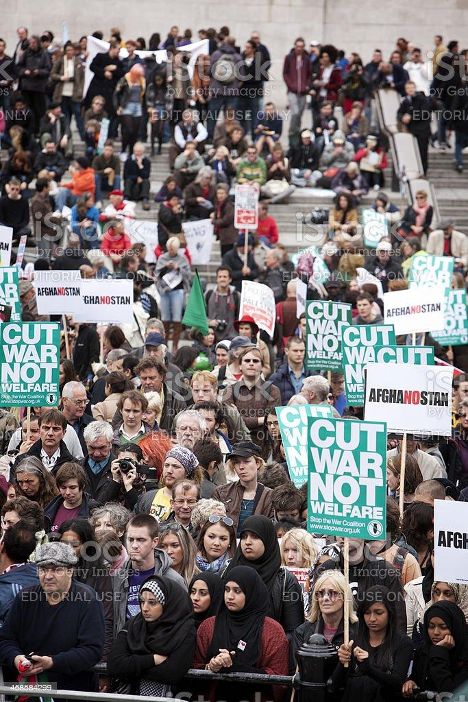 Antiwar Crowd, Trafalgar Square, London. stock photo