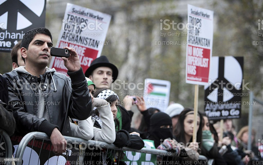 Anti-War demonstrators, London. royalty-free stock photo