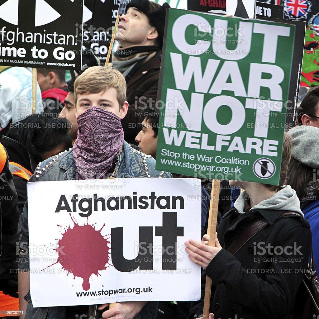 Anti-War demonstrators, London. stock photo