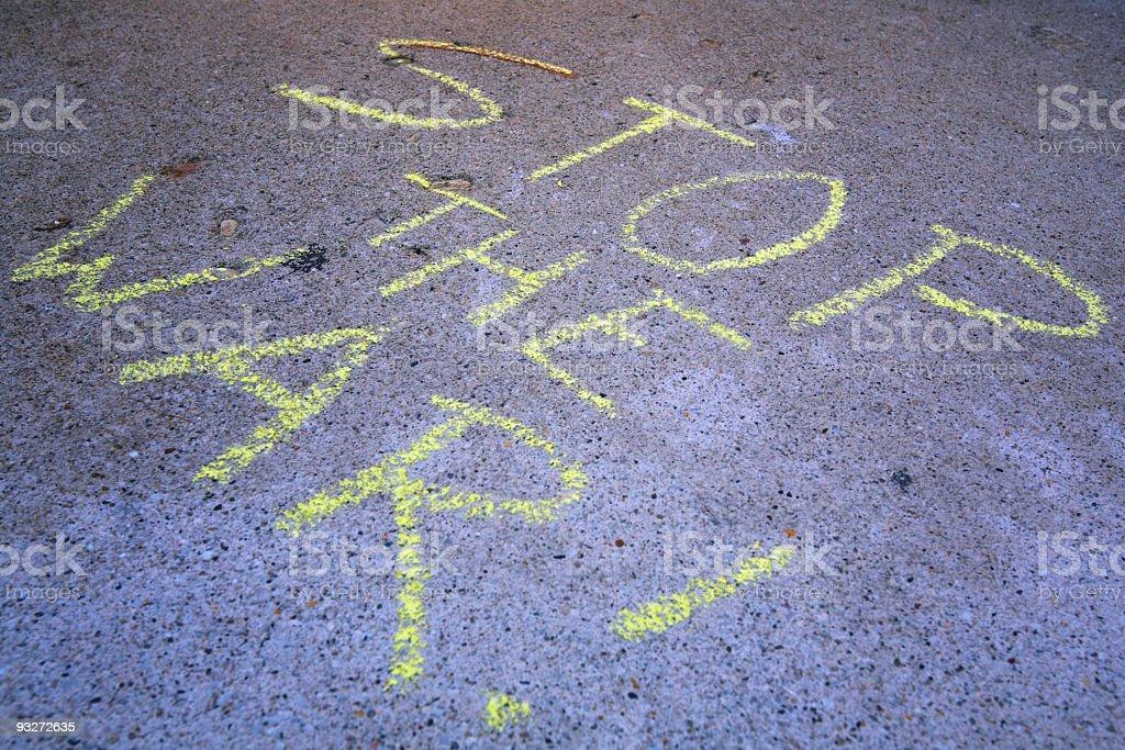 Anti-War Message on Sidewalk royalty-free stock photo