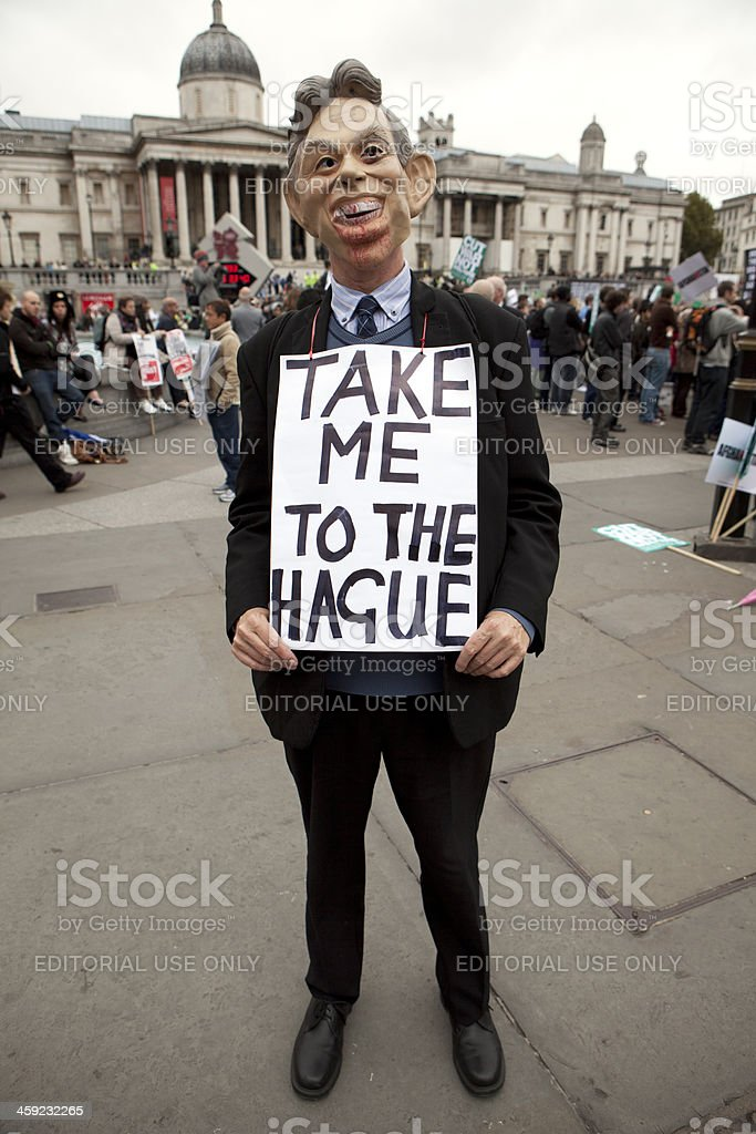 Anti-War protester as Tony Blair stock photo