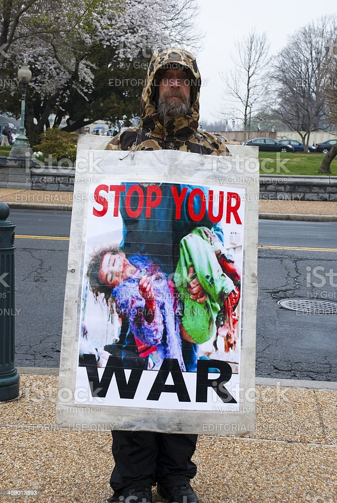 Anti-war protester on Capitol Hill in Washington DC stock photo