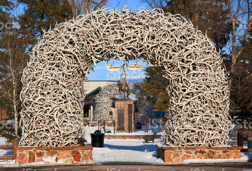 Antler Arches in Jackson Hole, Wyoming stock photo