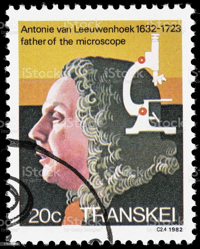 Antonie van Leeuwenhoek postage stamp stock photo