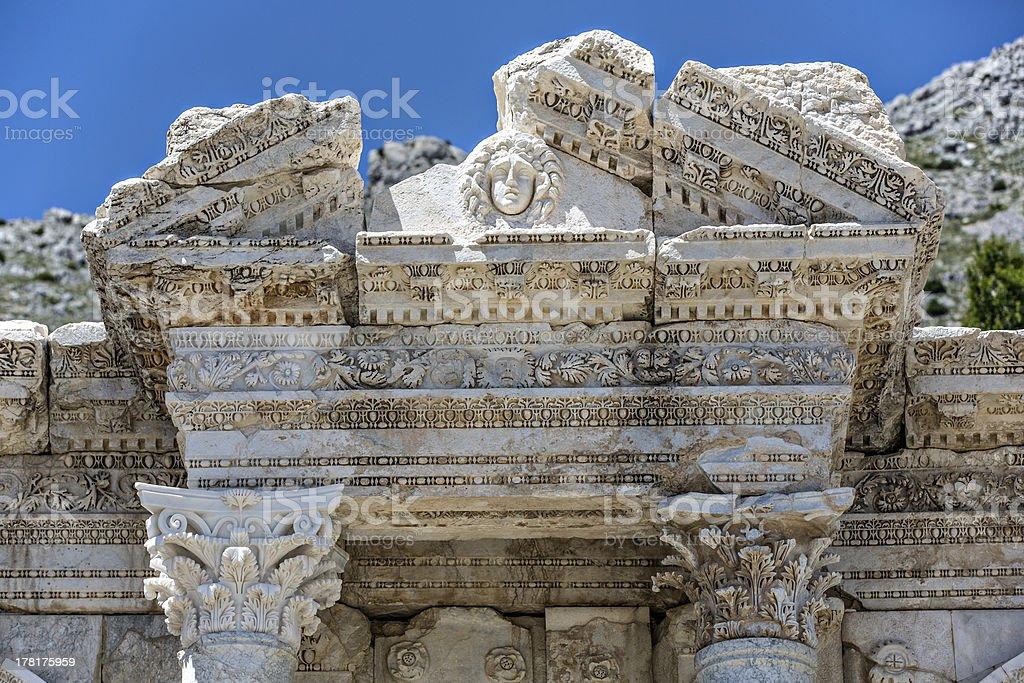 Antoninus Fountain of Sagalassos in Isparta, Turkey stock photo