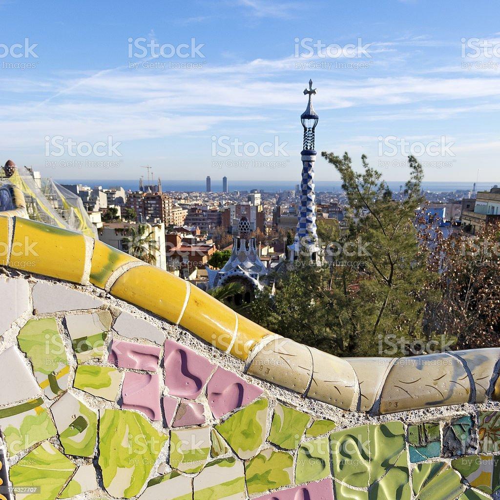 Antonio Gaudi mosaics, in Park Guell royalty-free stock photo