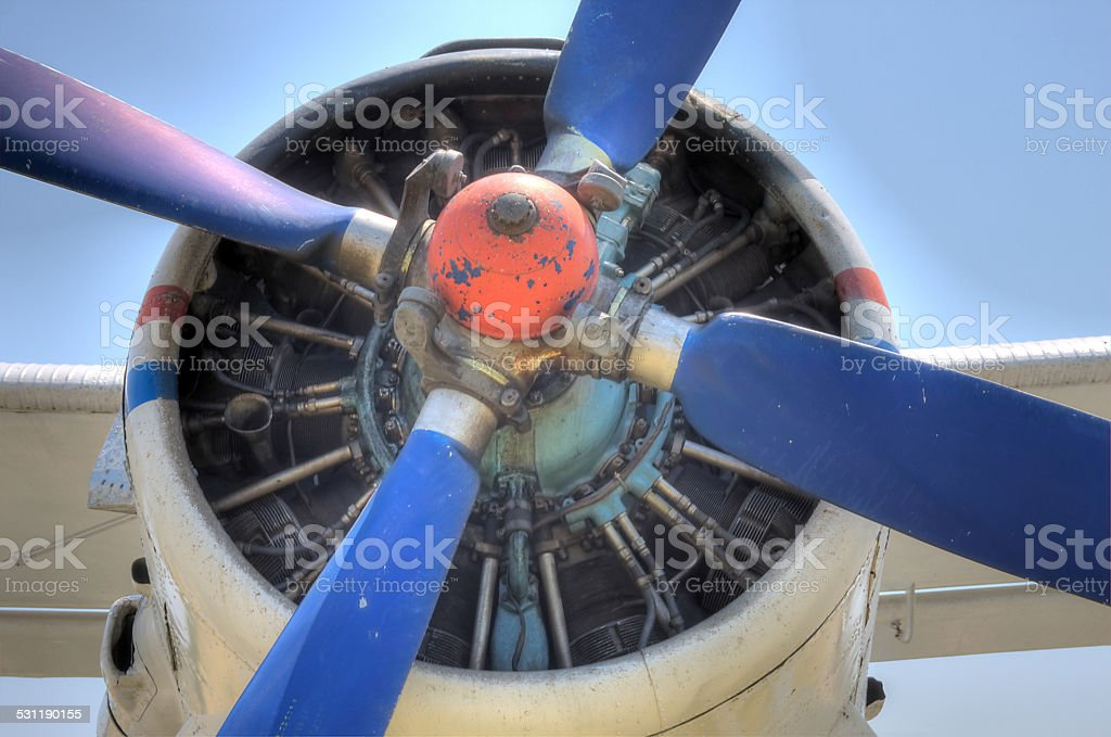 HDR Antonov 2 Plane Propeller engine detail stock photo