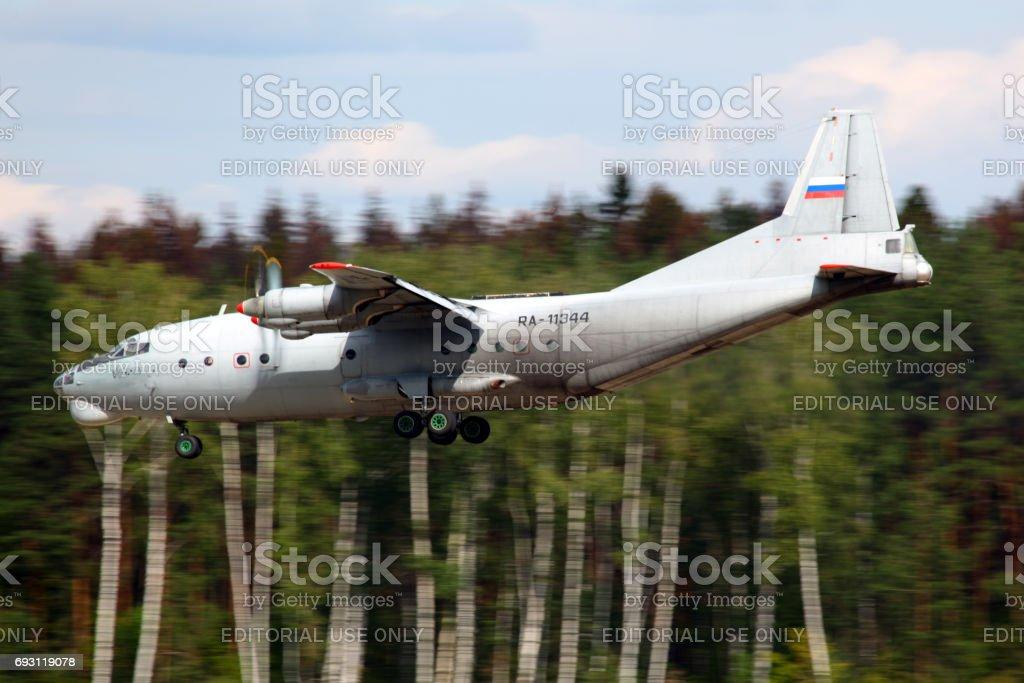 Antonov An-12 RA-11344 of Russian Air Force landing at Chkalovsky. stock photo