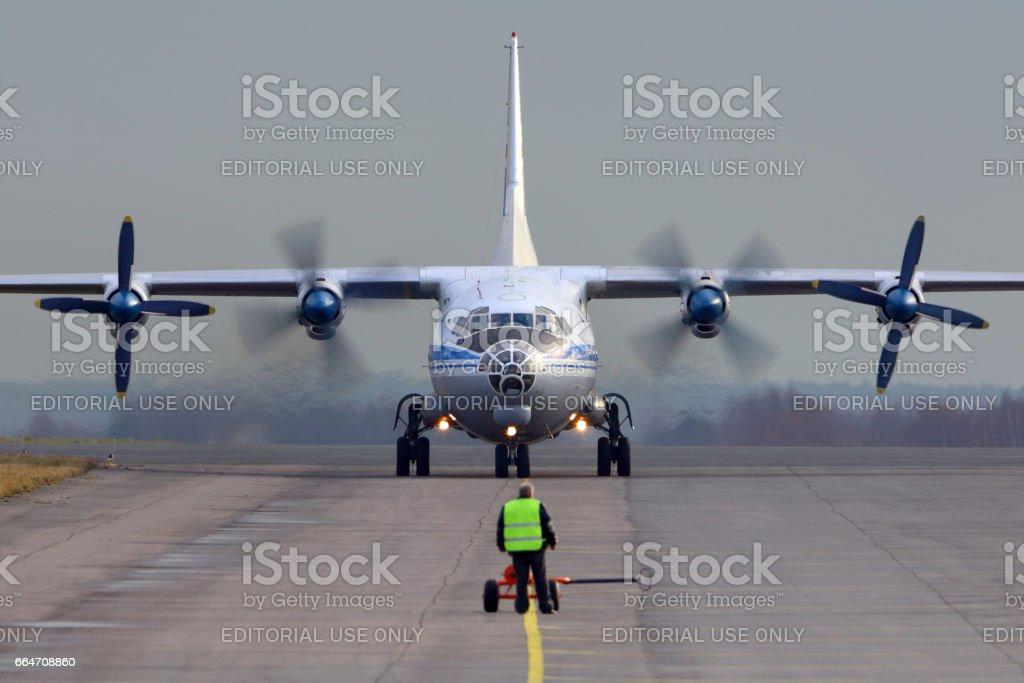 Antonov An-12 taxiing at Zhukovsky. stock photo