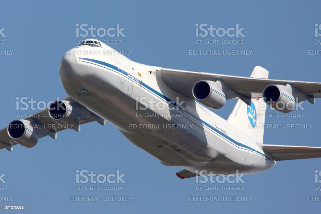 ZHUKOVSKY, MOSCOW REGION, RUSSIA - AUGUST 10, 2012: Antonov An-124 Ruslan shown at 100 years anniversary of Russian Air Forces in Zhukovsky. stock photo