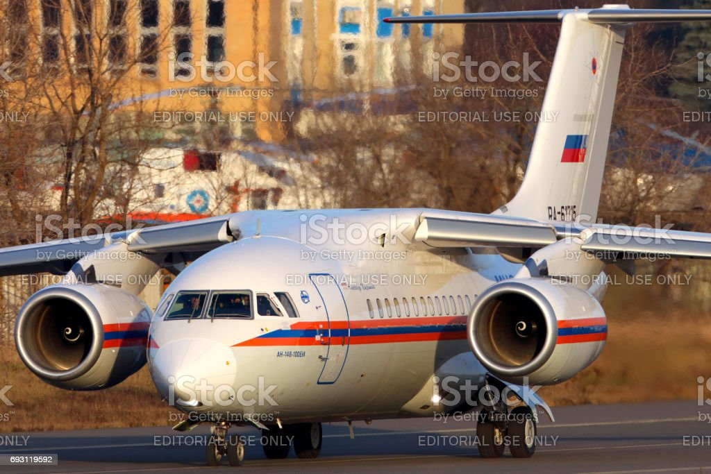 Antonov An-148-100EM RA-61715 of Ministry of Emergency Situations of Russia in Zhukovsky. stock photo