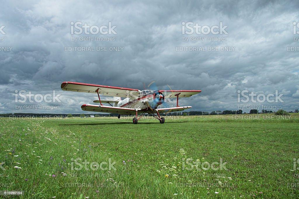 Antonov An-2 biplane takeoff stock photo