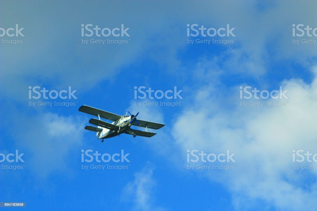 Antonov An-2 in the air stock photo