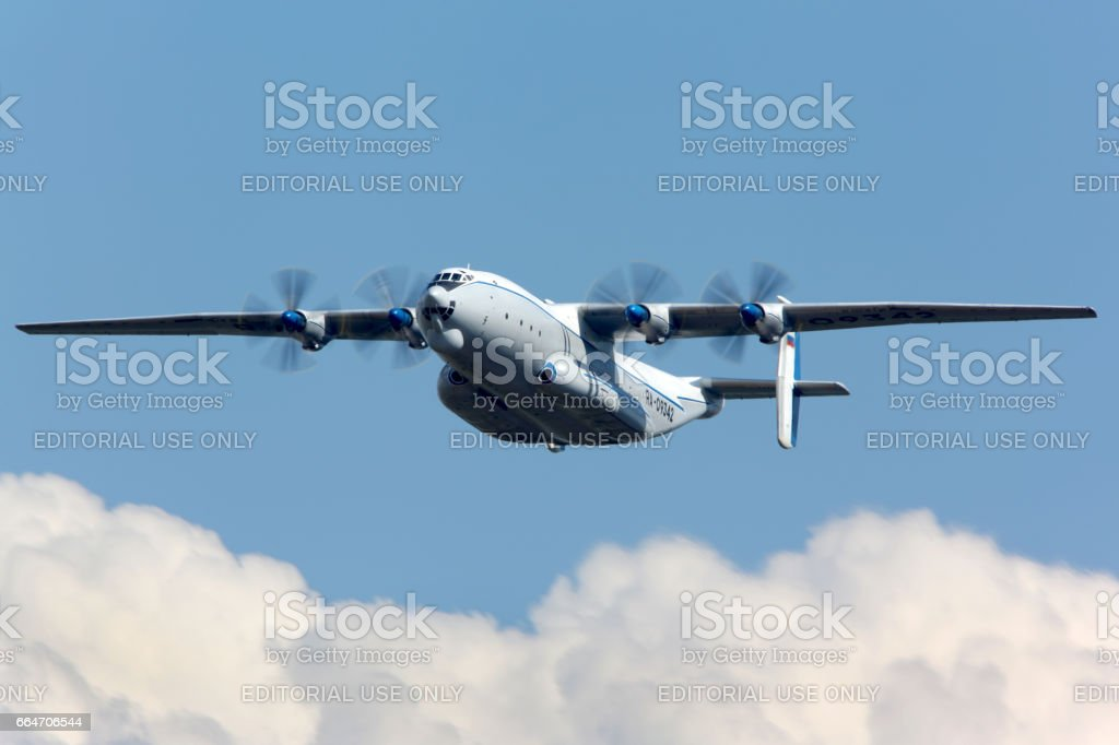 Antonov An-22 Antei shown at 100 years anniversary of Russian Air Forces in Zhukovsky. stock photo