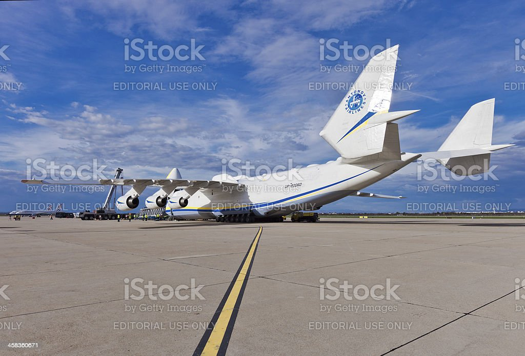 Antonov AN-225 Mriya embarking load stock photo