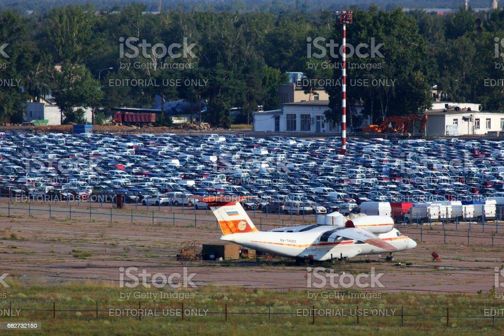 Antonov An-74 RA-74003 standing at closed airport Bykovo. stock photo