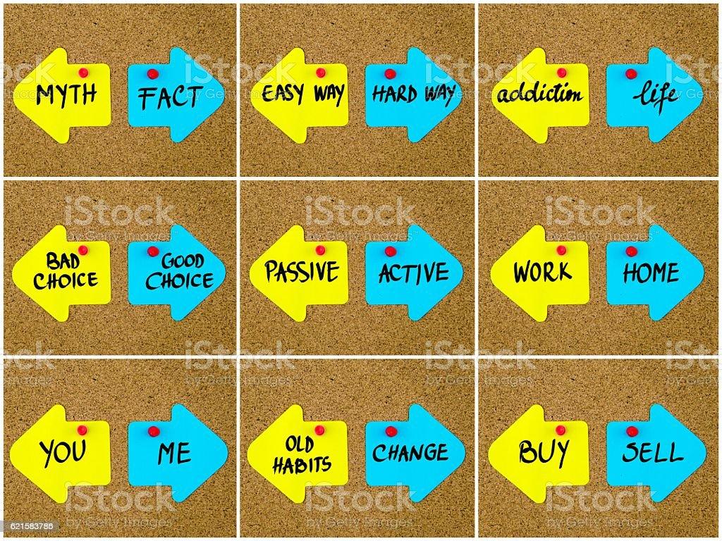 Antonym concepts written on opposite arrows stock photo