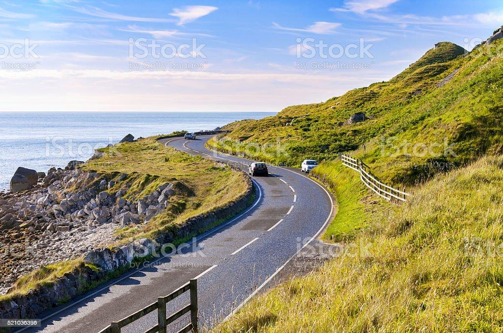Antrim Coastal Road in Northern Ireland, UK stock photo