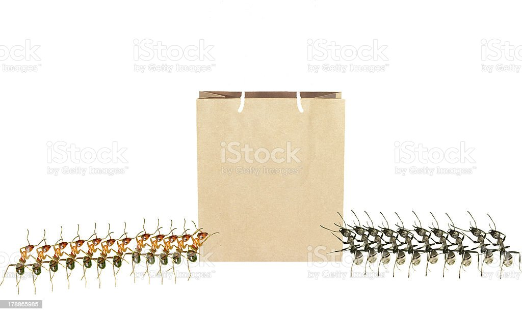 ants and Shopping bags royalty-free stock photo