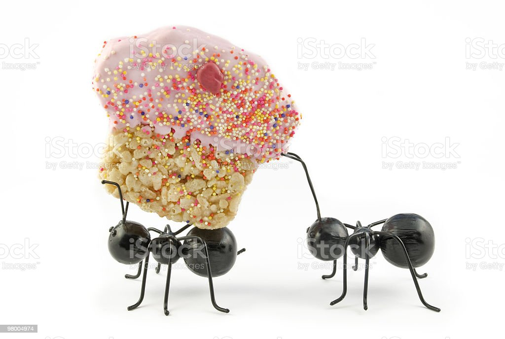 Ants Carrying Cupcake, Concept stock photo