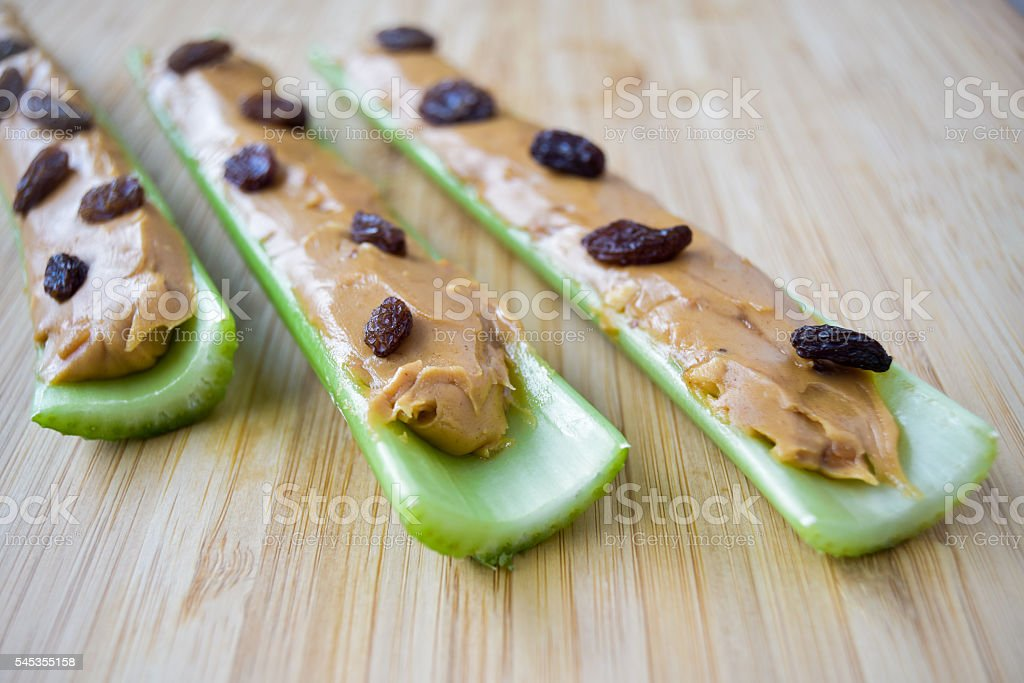 Ants on a Log Snack stock photo