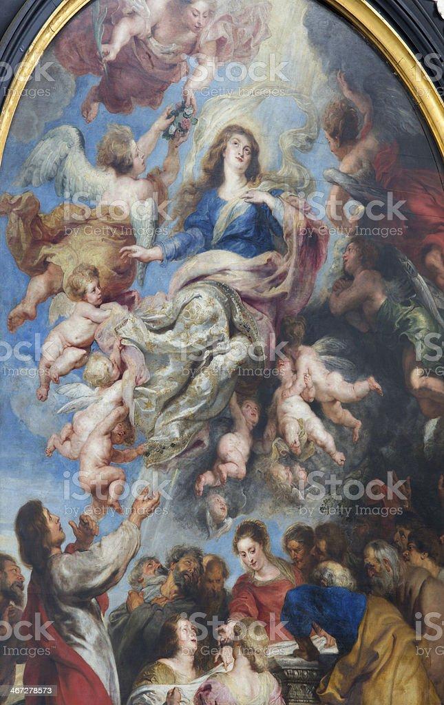 Antwerp - Assumption of Virgin Mary by Peter Paul Rubens stock photo