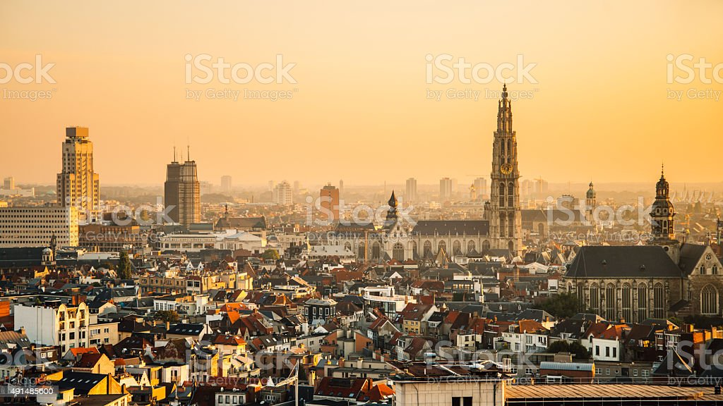 Antwerp at sunset stock photo