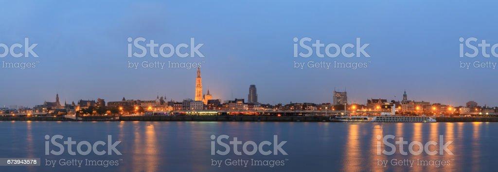 Antwerp blue hour panorama stock photo