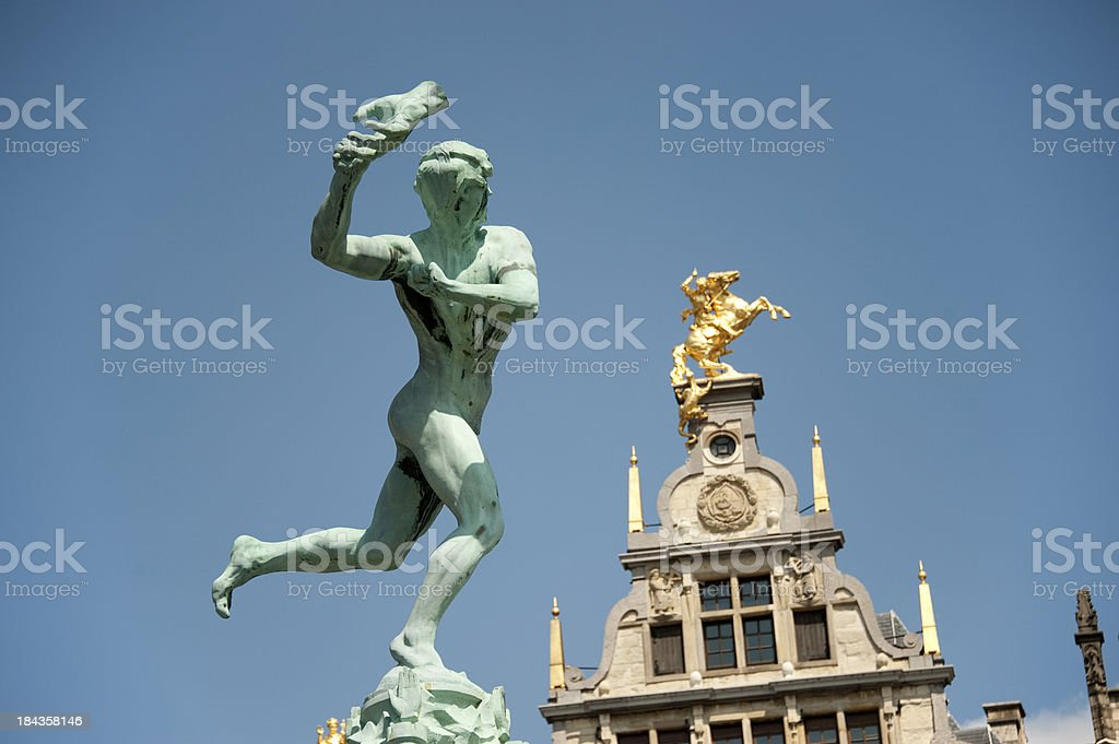 Antwerp, Brabo and historical  house front. stock photo