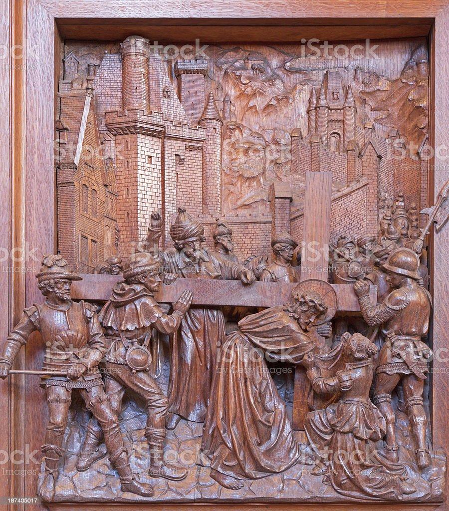 Antwerp - Carved relief of Jesus under cross royalty-free stock photo