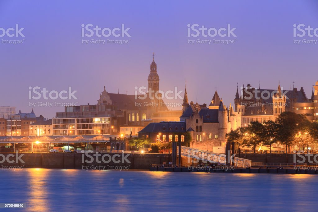 Antwerp castle river view at night stock photo