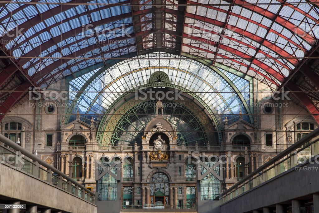 Antwerp Central Railway Station stock photo