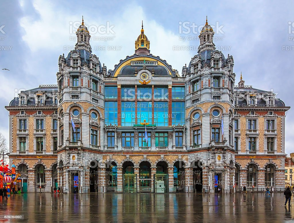 Antwerp Central Train Station in Belgium stock photo