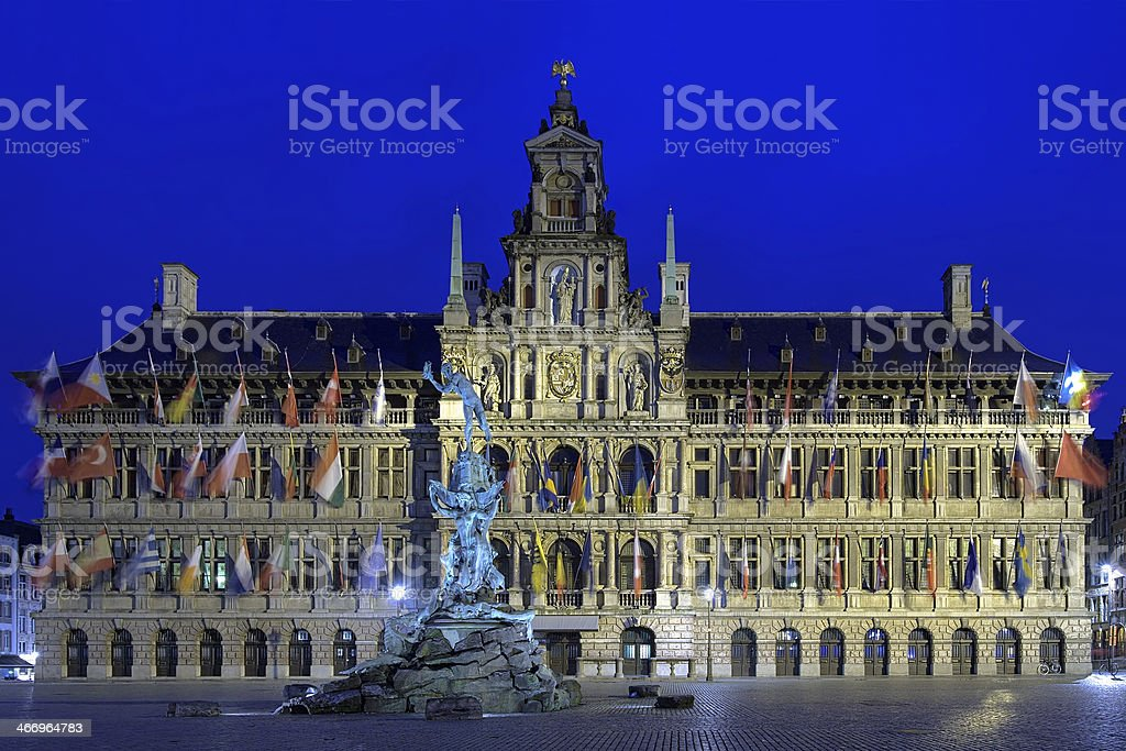 Antwerp City Hall and Brabo fountain at evening, Belgium royalty-free stock photo