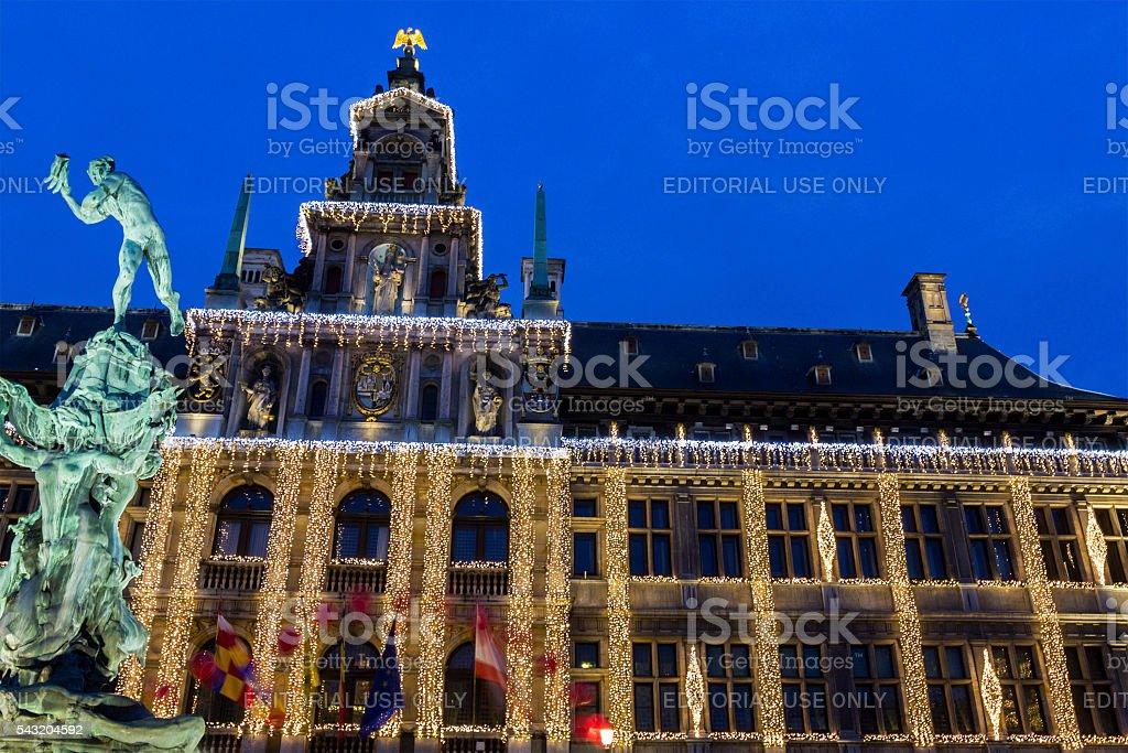 Antwerp City Hall with statue of Silvius Brabo in Belgium stock photo