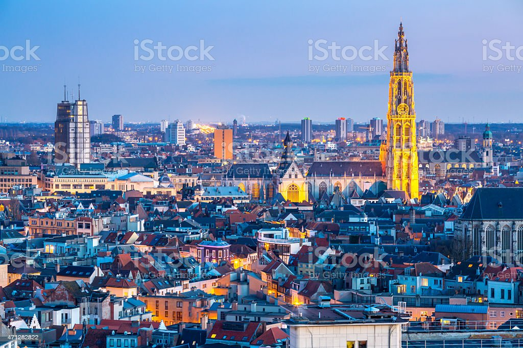 Antwerp cityscape at dusk stock photo
