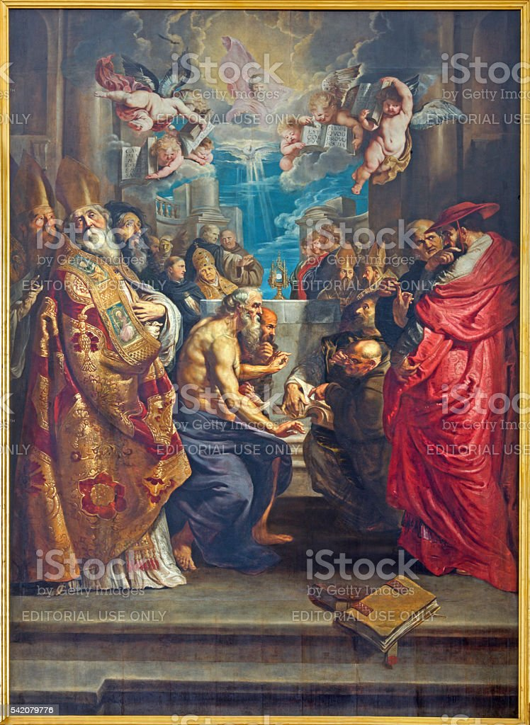 Antwerp - Disputation of the Holy Sacrament by Rubens stock photo