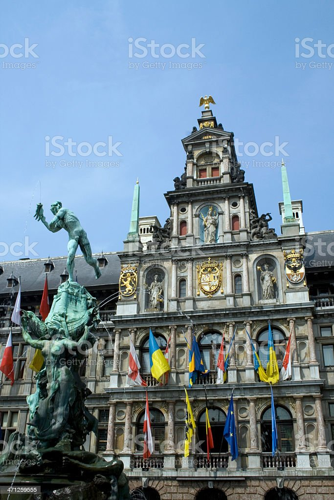 Antwerp 'Grote Markt' -  City Hall with Brabo fountain stock photo