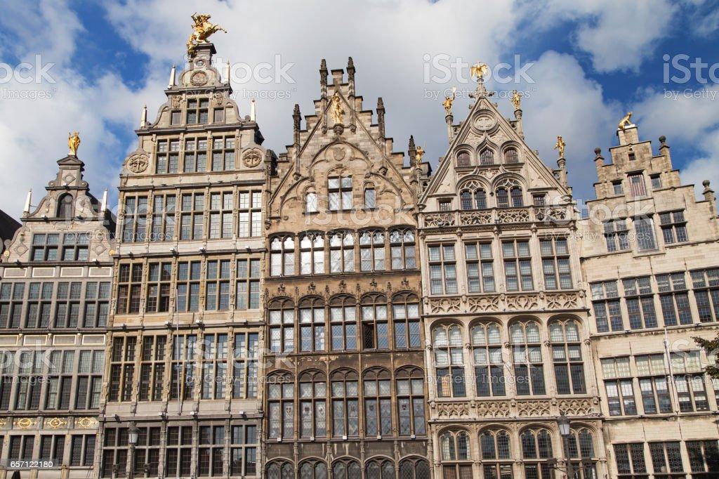 Antwerp Guildhalls stock photo