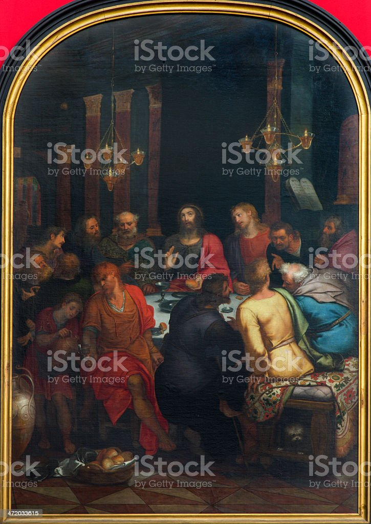 Antwerp - Last supper of Christ in cathedral stock photo