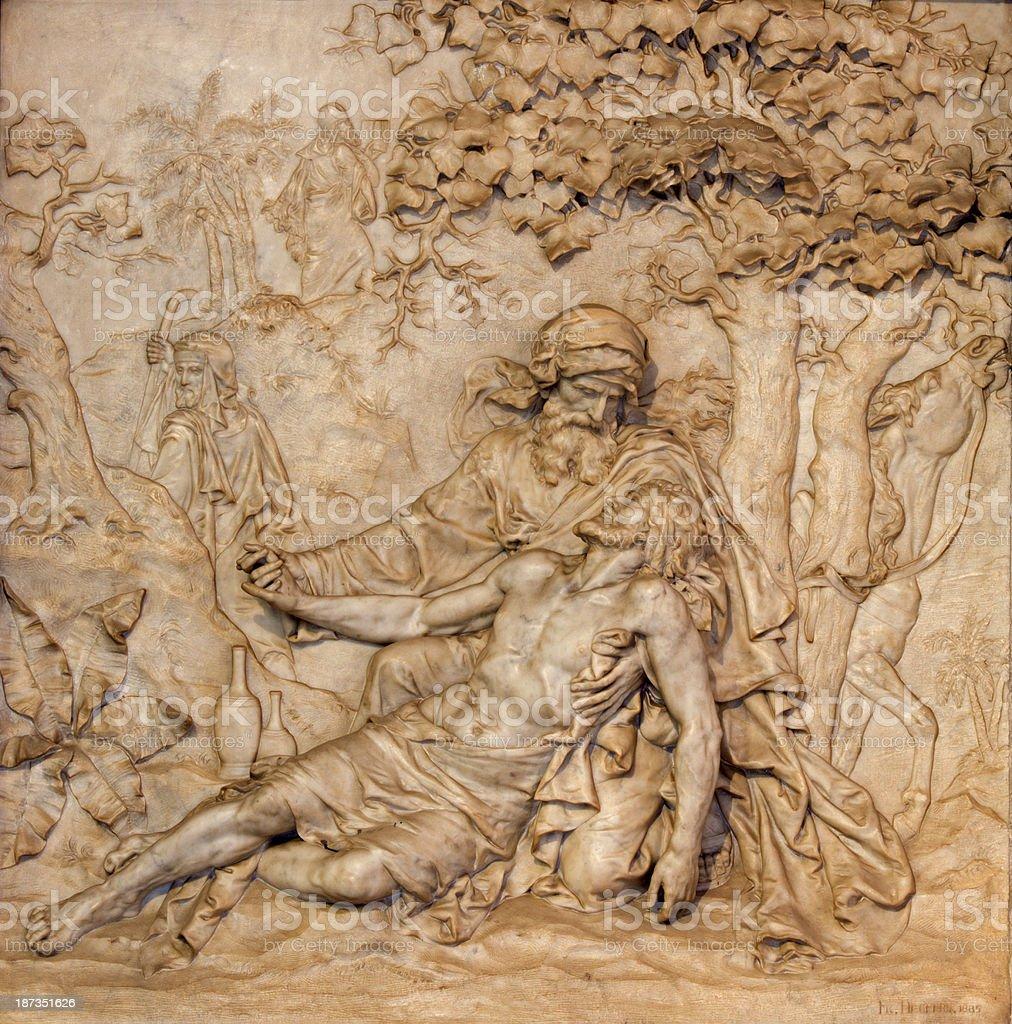Antwerp - Marble relief of merciful Samaritan scene stock photo