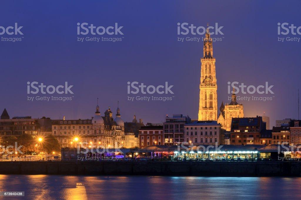 Antwerp night view stock photo