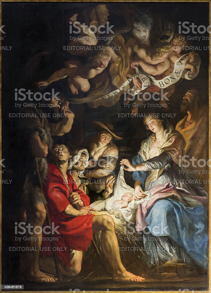 Antwerp - Paint of Nativity scene by Peter Paul Rubens stock photo