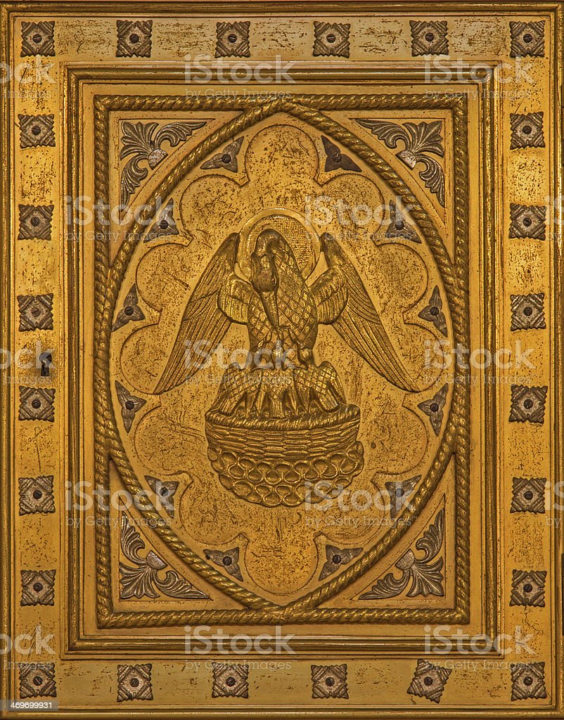 Antwerp - Pelican as symbol of Jesus Christ stock photo