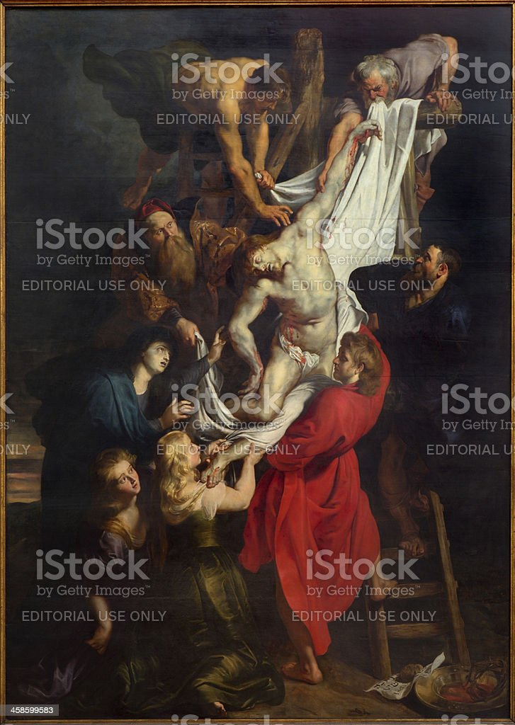 Antwerp - Raising of the cross by  Peter Paul Rubens stock photo